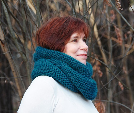 """Теплый снуд-шарф цвета морской волны """"Лагуна"""" (шерсть) ручной работы на заказ"""