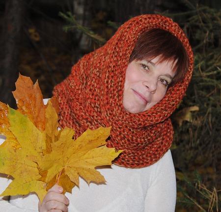 """Очень теплый снуд-шарф меланж """"Краски осени"""" (полушерсть) ручной работы на заказ"""