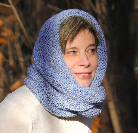 """Снуд-шарф голубой меланжевый """"Конфетти"""" (полушерсть) ручной работы на заказ"""