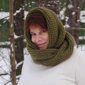 """Снуд-шарф цвета хаки  """"Защитный"""" (полушерсть)"""