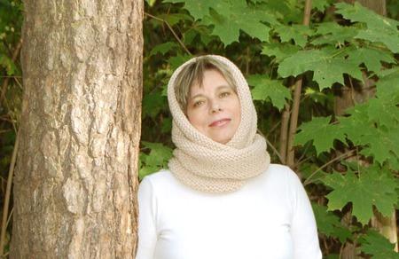 """Снуд-шарф светло- бежевый  """"Фрез"""" (мериносовая шерсть) ручной работы на заказ"""