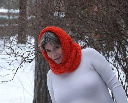"""Снуд-шарф """"Алый мак"""" (шерсть) ручной работы на заказ"""