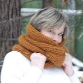 """Очень теплый снуд-шарф """"Золотистый"""" (шерсть)"""