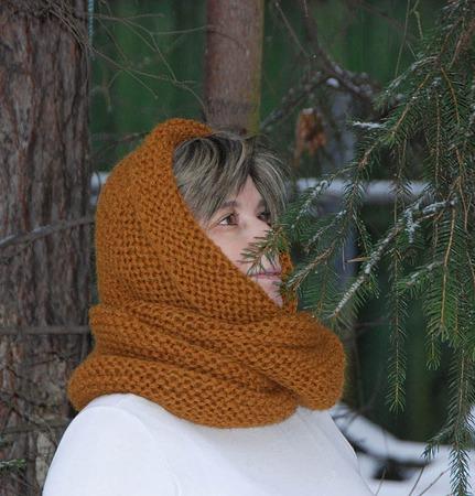 """Очень теплый снуд-шарф """"Золотистый"""" (шерсть) ручной работы на заказ"""