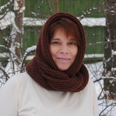 """Снуд-шарф коричневый """"Грильяж"""" (полушерсть)"""