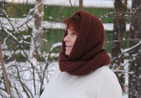 """Снуд-шарф коричневый """"Грильяж"""" (полушерсть) ручной работы на заказ"""