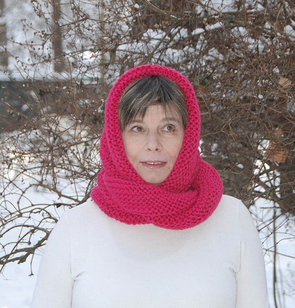"""Снуд-шарф """"Яркий амарант"""" (полушерсть) ручной работы на заказ"""