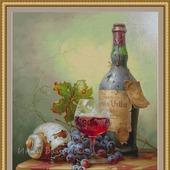 """Схема для вышивания """"Натюрморт с фруктами и вином"""""""