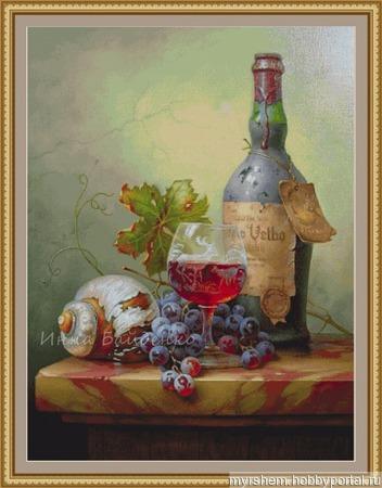 Натюрморт с фруктами и вином ручной работы на заказ