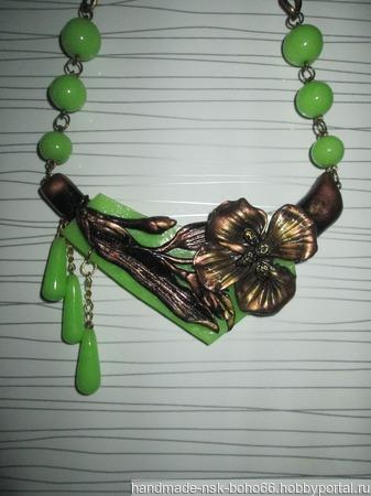Колье бронзовый цветок ручной работы на заказ