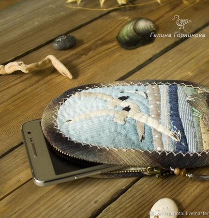 """Чехол для телефона """"Чайки"""", японский пэчворк ручной работы на заказ"""