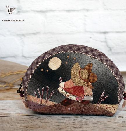 Японская косметичка Подружки, лоскутное шитье ручной работы на заказ