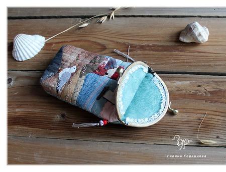 Очечник с фермуаром  Море,  пэчворк ручной работы на заказ