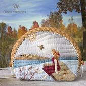 Осень, косметичка из ткани, японский пэчворк
