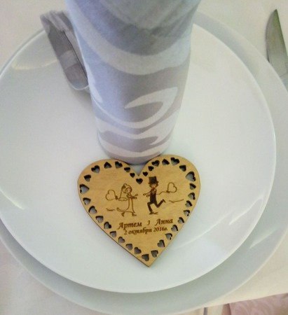 Свадебное сердце, магнит ручной работы на заказ