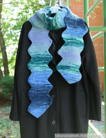 """Вязаный шарф шарфик """"Зиг-Заг"""" ручной работы на заказ"""