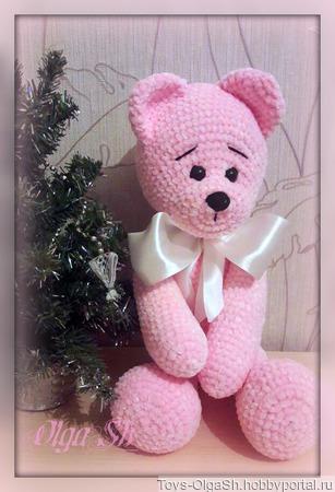 Розовый медведь ручной работы на заказ