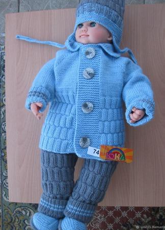 Комплект на рост 74см (кардиган,штанишки, шапочка и пинетки ручной работы на заказ