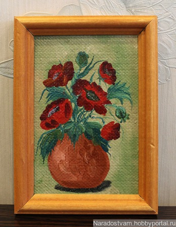 Картина миниатюра Маки ручной работы на заказ