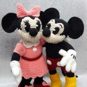 Минни и Микки Маус, мягкая вязаная игрушка