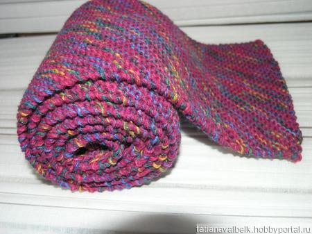 Вязаный шарф шарфик демисезонный фуксия ручной работы на заказ