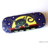 Футляр для очков Черный кот точечная роспись