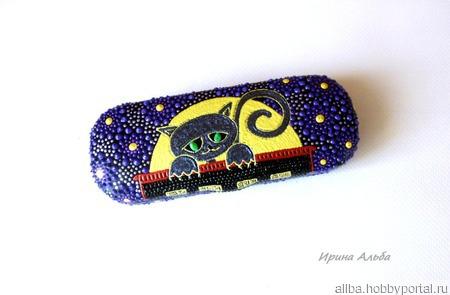 Футляр для очков Черный кот точечная роспись ручной работы на заказ