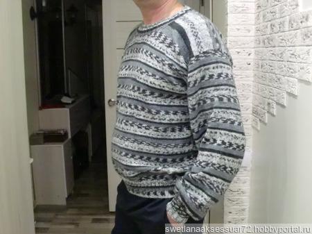 Мужской пуловер в стиле жаккард ручной работы на заказ