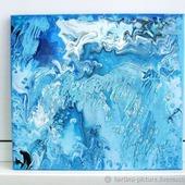 Картина Океан абстракция для интерьера голубой синий белый