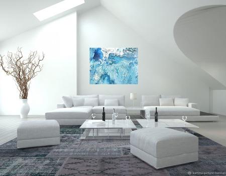 Картина Океан абстракция для интерьера голубой синий белый ручной работы на заказ