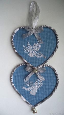 Подвеска интерьерная Два сердца,подвеска декоративная, валентинка ручной работы на заказ