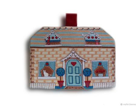 Подарок на 8 марта Грелка на чайник Милый дом, подарок женщине. ручной работы на заказ
