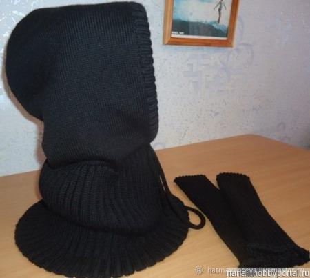 Снуд-капюшон мужской и митенки ручной работы на заказ