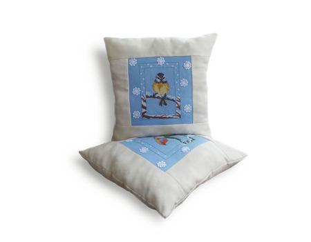 Подушка декоративная Зимние птицы,декор,интерьера,подушка,голубой,зима ручной работы на заказ