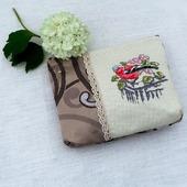 Косметичка Снегирь, косметичка с вышивкой, косметичка из ткани