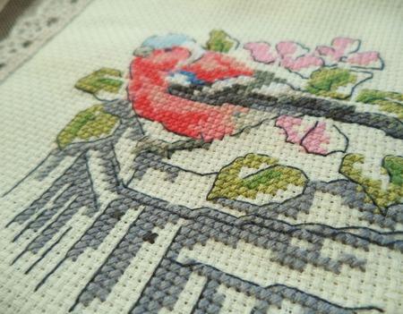 Косметичка Снегирь, косметичка с вышивкой, косметичка из ткани ручной работы на заказ