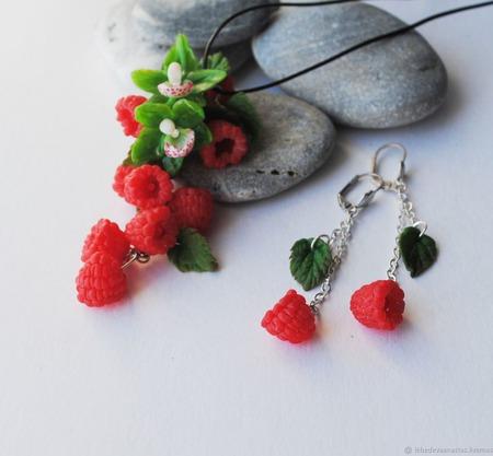 "Кулон и серьги "" Малина и орхидеи"" ручной работы на заказ"