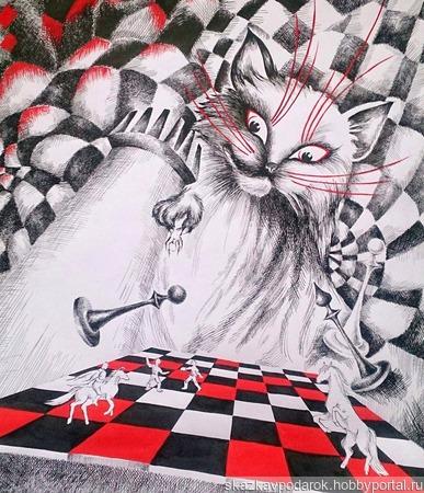 """Картина """"Кот с Патриарших"""" ручной работы на заказ"""