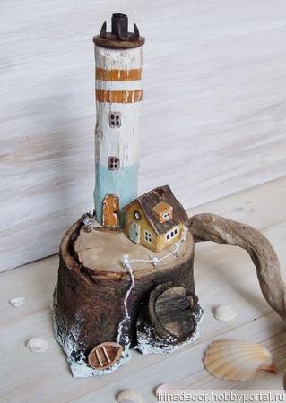 """Домик и маяк """"Маленький остров"""", домики дрифтвуд ручной работы на заказ"""