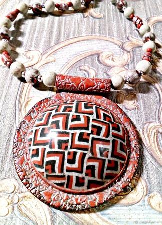 Кулон Этно с бусами из полимерной глины ручной работы на заказ