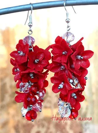 Серьги Красная гроздь из полимерной глины ручной работы на заказ