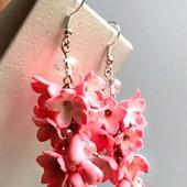 Серьги Розовая гроздь из полимерной глины