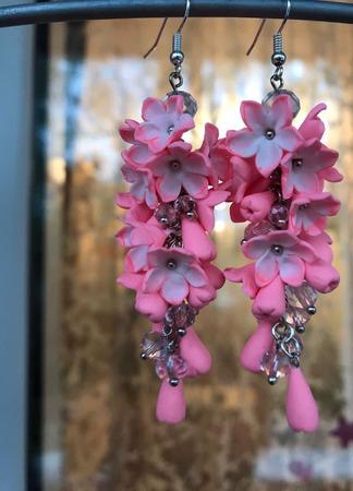 Серьги Розовая гроздь из полимерной глины ручной работы на заказ