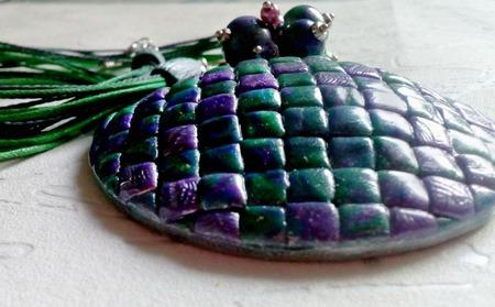 Кулон Волшебная мозаика из полимерной глины ручной работы на заказ