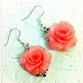 Серьги Розовые розы из полимерной глины