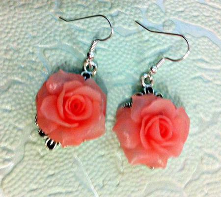 Серьги Розовые розы из полимерной глины ручной работы на заказ