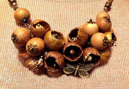 Колье Осенние цветы из полимерной глины ручной работы на заказ