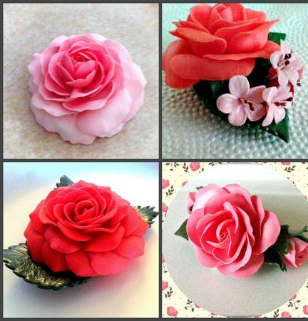 Брошь Розовые розы из полимерной глины ручной работы на заказ