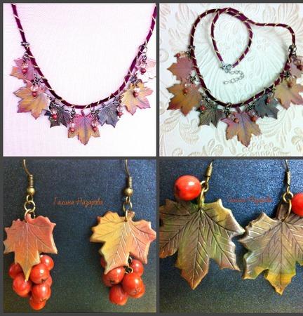 Украшение Осенние листья клена из полимерной глины ручной работы на заказ