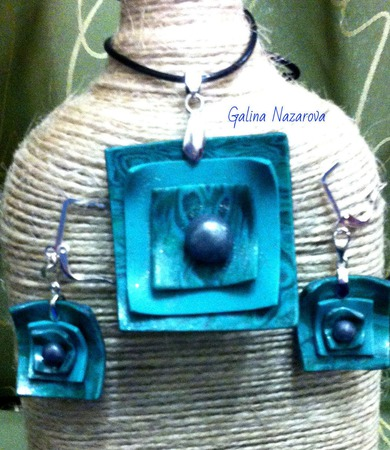 Квадратный кулон и серьги из полимерной глины ручной работы на заказ